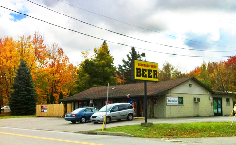 The Beverage Shop Beer Distributor is conveniently located on Rt 97 in Erie, PA and is easily recognized by our big yellow Beer Distributor sign (shown.)